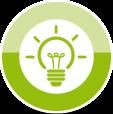 Grüner Kreis mit Glühbirnen-Symbol