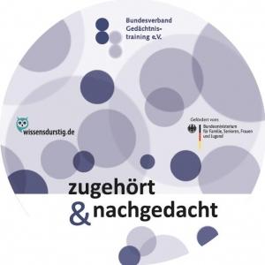 """Cover der CD """"Zugehört und Nachgedacht"""" mit Gedächtnisübungen."""