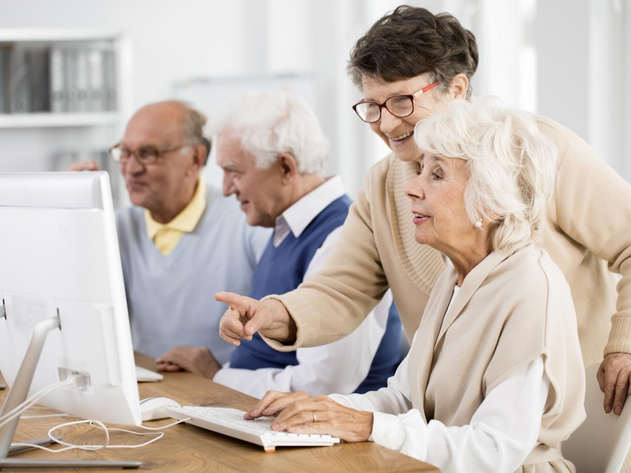 Eine Gruppe von älteren Menschen sitzt an Tischen mit PCs in einer Lernsituation.