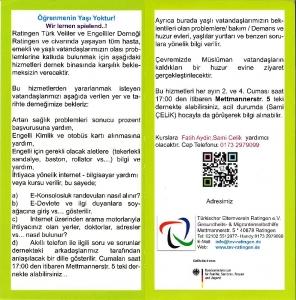 Flyer zum neuen Freizeitkurs Lernen neuer Technik des türkischen Freizeitvereins in Ratinngen