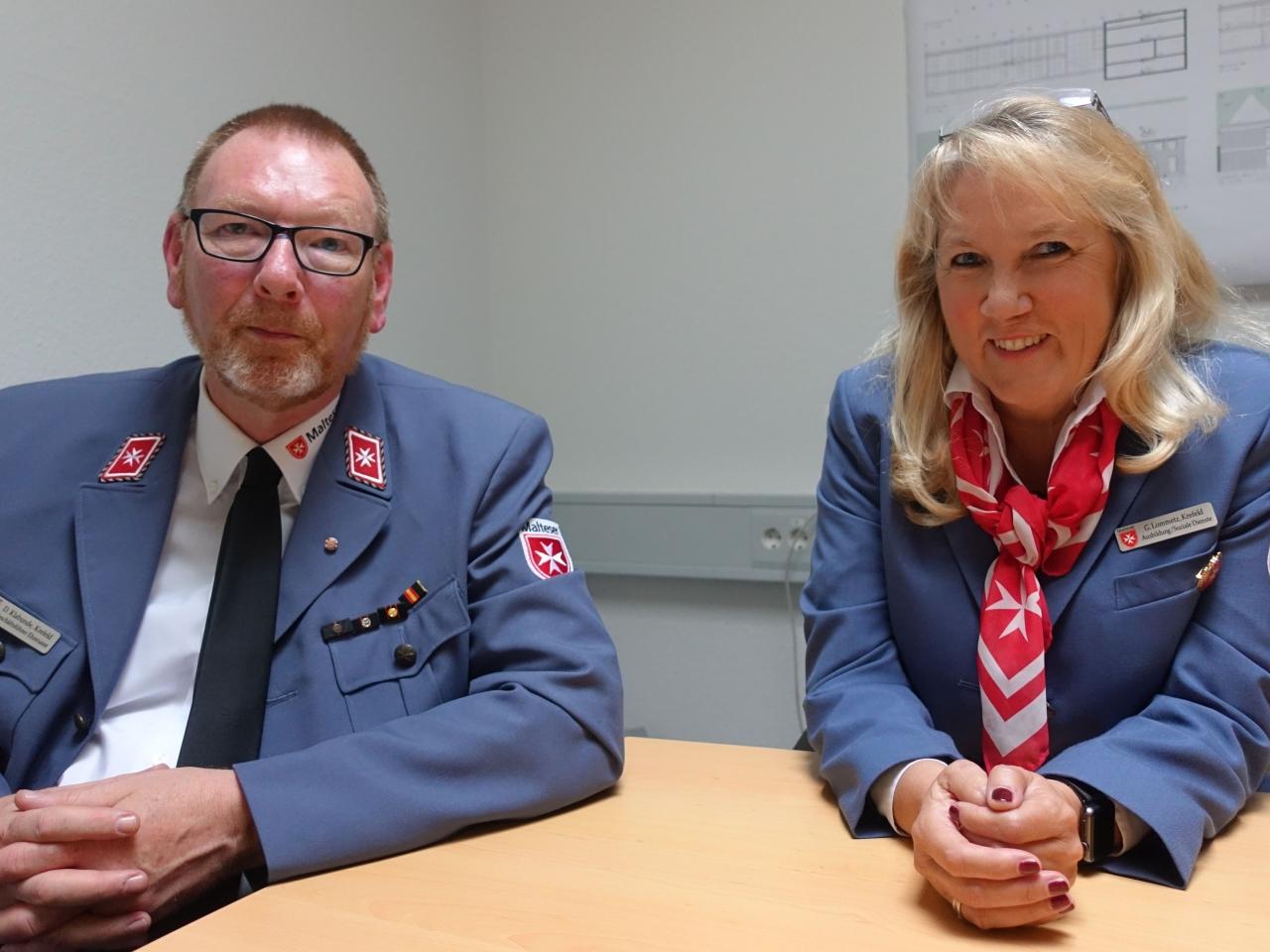 Gabi Lommetz und Dietmar Klabunde vom Malteser Hilfsdienst e.V. Krefeld