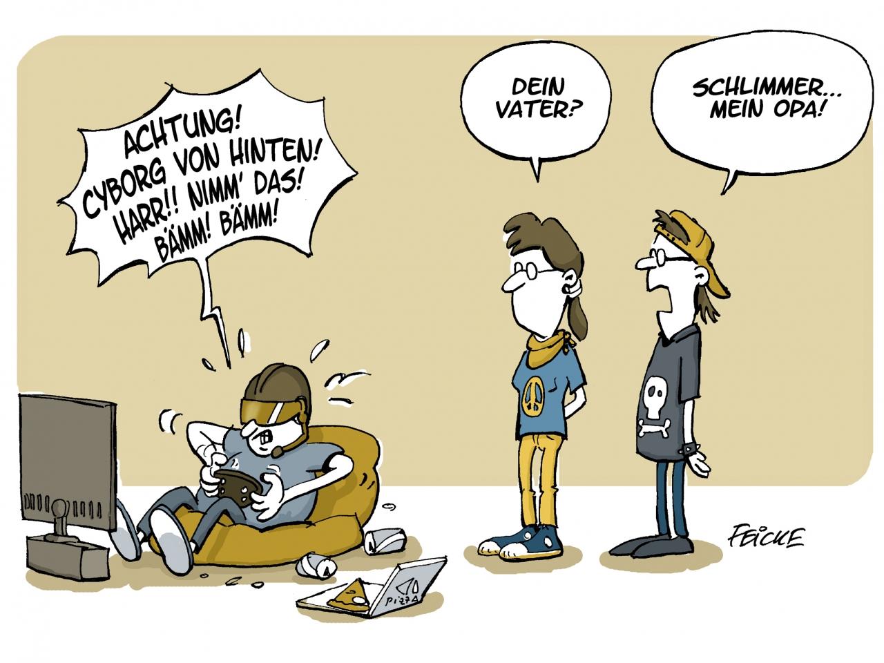 Karikatur zum Thema Ältere und Digitalisierung