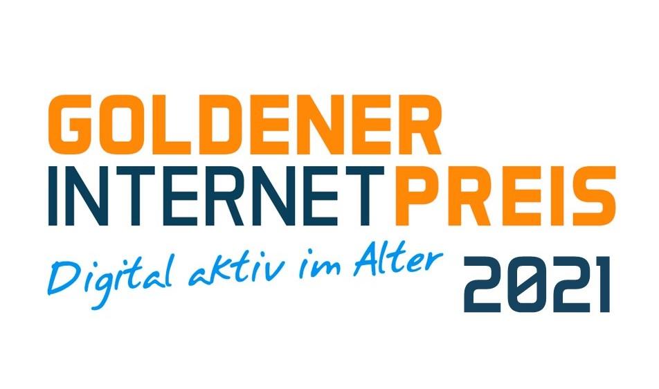 Schriftzug Goldener Internetpreis 2021. Digital aktiv im Alter