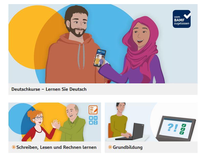 Themenbereiche der vhs-Lernportals: Deutsch lernen, Schreiben, Lesen und rechnen sowie Grundbildung
