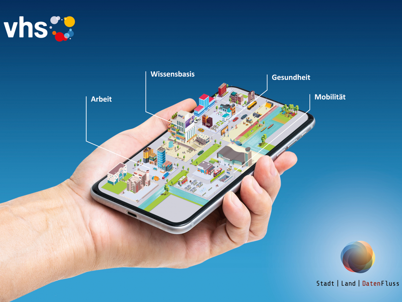 Hand mit Smartphone mit App Stadt Land Datenfluss der VHS